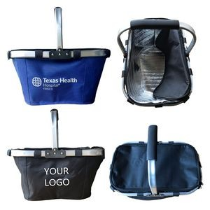 Large Collapsible Portable Picnic Cooler Basket Set with Aluminum Handle